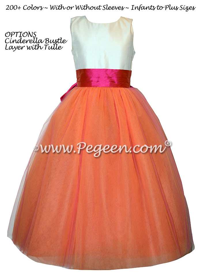 Orange and Hot Pink Silk Flower Girl Dress with Layered Tulle Pegeen Style 402