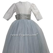 Morning Gray 3/4 sleeve silk and tulle flower girl dress