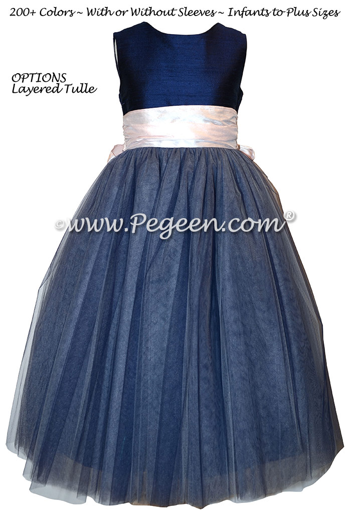 Navy and Peony Pink silk and tulle  flower girl dress