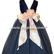 Navy and Pink tulle and silk flower girl dresses