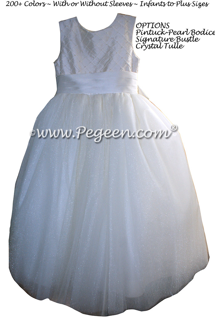 Trellis Bodice in White Flower Girl Dresses with Signature Bustle and Dew Drop Tulle