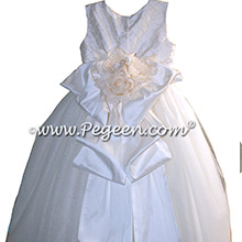 White Silk and Pearled First Communion dresses