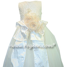 Ivory Pearled Silk flower girl dresses