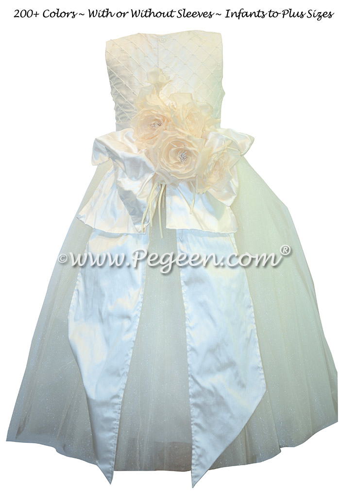Ivory Pearled Silk flower girl dresses - Style 402