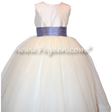 Flower Girl Dresses with a tulle skirt in Antique White and Periwinkle and Tulle | Pegeen