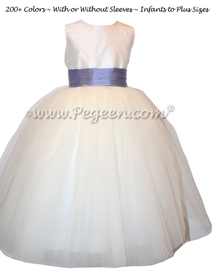 Flower Dresses With A Tulle Skirt In Antique White And Periwinkle Pegeen