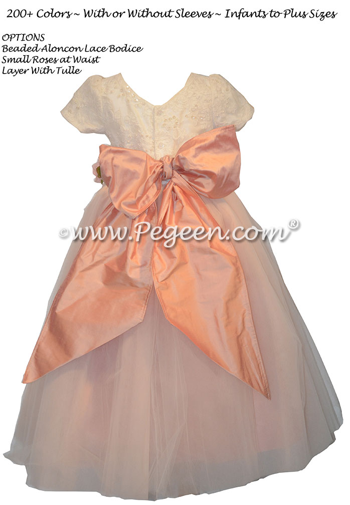 Petal Pink and Aloncon Lace custom silk flower girl dresses Style 402