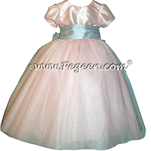 Custom Pink and Blue Cloud Tulle and Silk Flower Girl Dresses