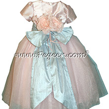 Couture Style pink and blue silk flower girl dresses - Style 402