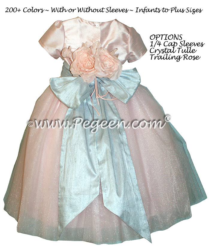 Flower Girl Dress in Custom Pink and Blue Cloud Tulle and Silk | Pegeen