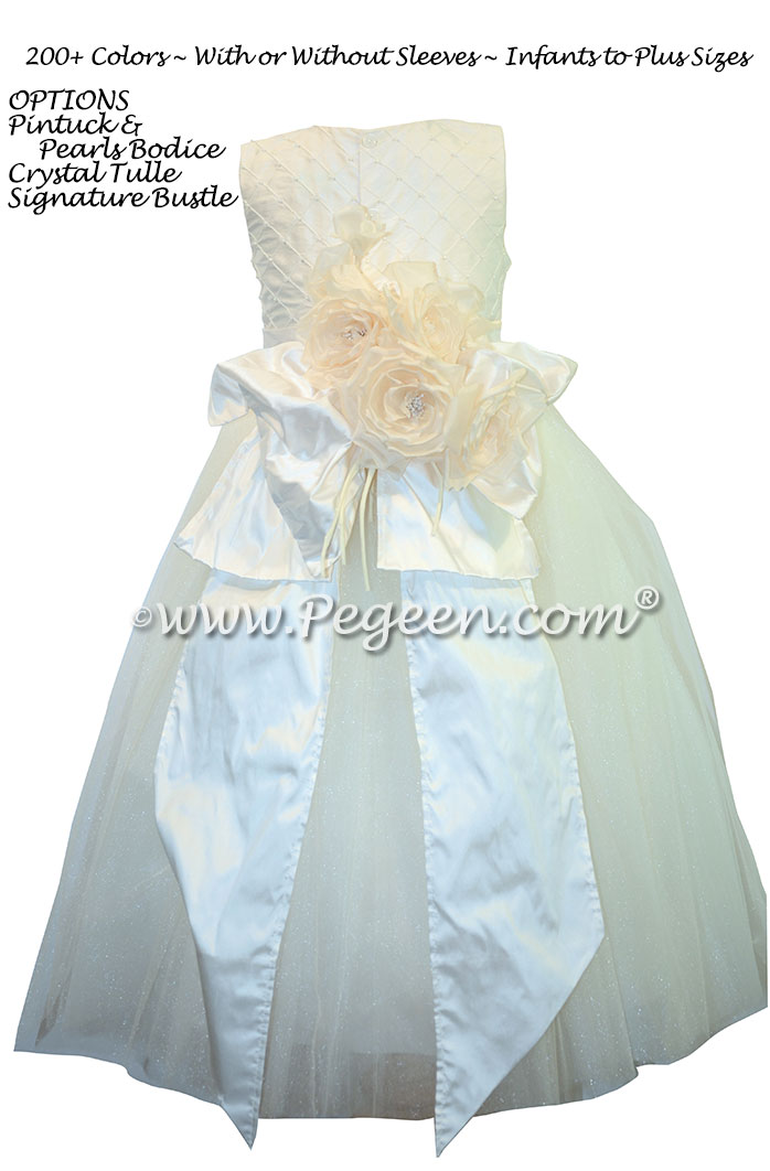 First Communion Dress Bustled White Pearled Bodice Style 370 | Pegeen