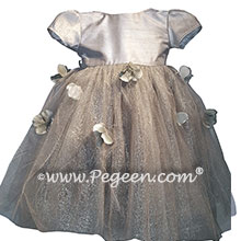 Platinum tulle and flower petals silk flower girl dresses for Jr Bridesmaids