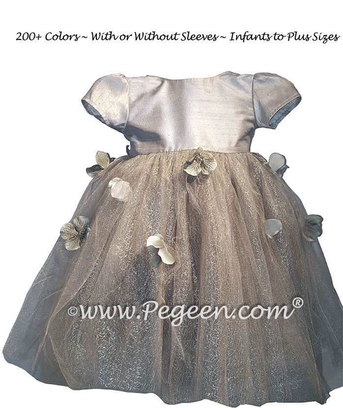 Platinum tulle and flower petals silk flower girl dress for infant