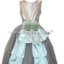 Custom Platinum, Gray and Spa Blue Silk Tulle Flower Girl Dresses
