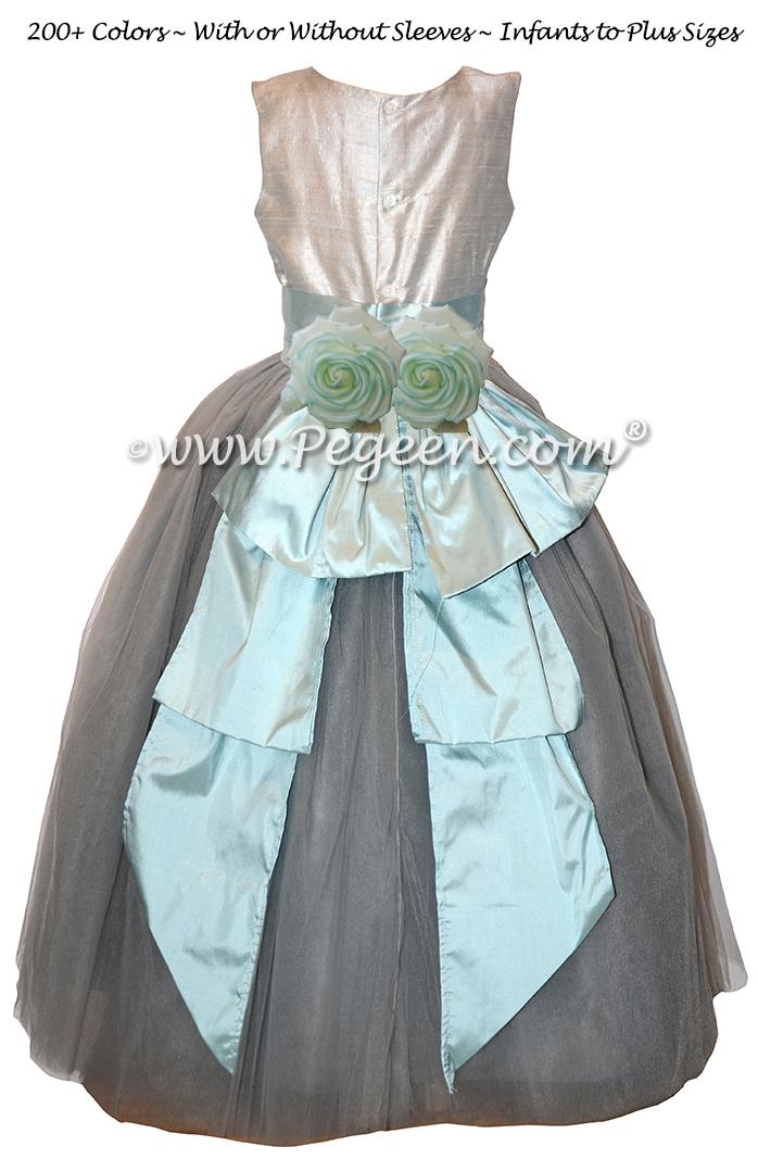 Custom Platinum, Gray and Spa Blue Silk Tulle Flower Girl Dresses
