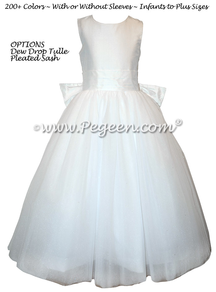 White tulle first communion dresses with Monogram and Dew Drop Tulle Style 402 | Pegeen