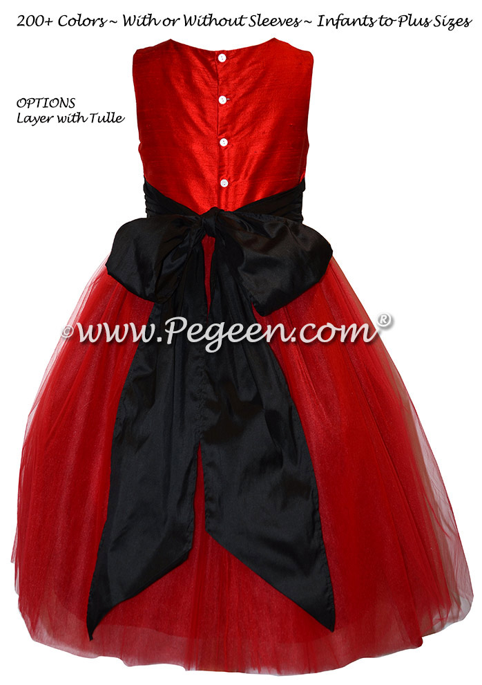 Red and Black Tulle Custom Silk flower girl dresses - Style 402