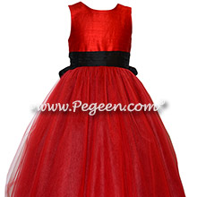 Red and Black Tulle Custom Silk flower girl dresses