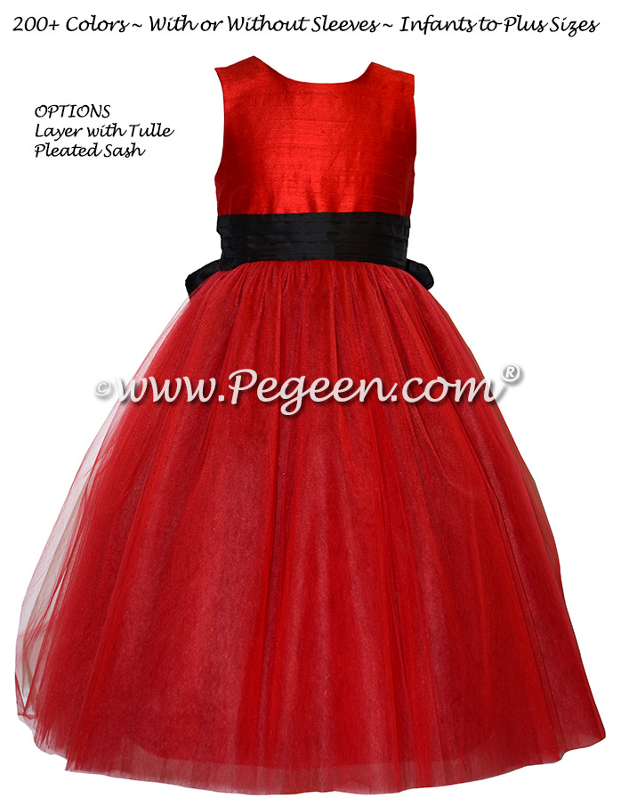Red and Black Degas inspired silk and tulle custom flower girl dress Pegeen Couture Style 402