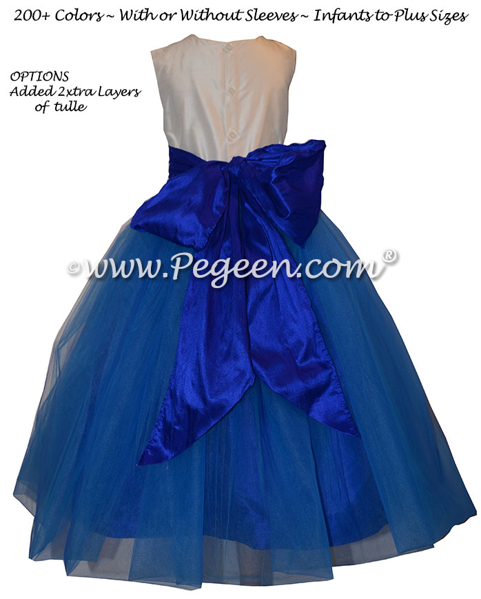 Flower Girl Dresses in Blue Sapphire and Ivory Silk and Tulle | Pegeen