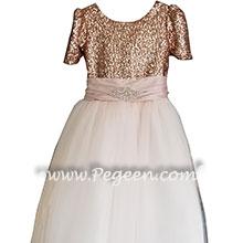 Bat Mitzvah Dress with Rhinestone Trim and Rose Gold Sequins