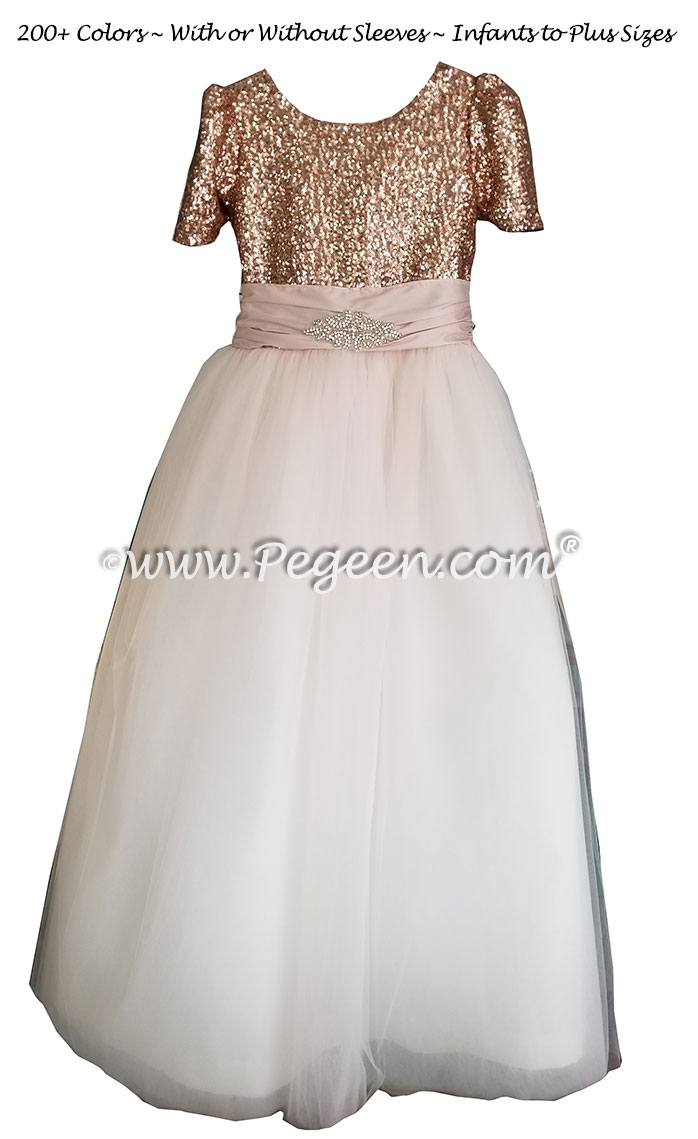 Bat Mitzvah Dress with Rhinestone Trim and Rose Gold Sequins