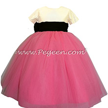 Hot shock pink, black and ivory silk flower girl dress
