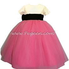 Hot shock pink, black and ivory silk flower girl dress