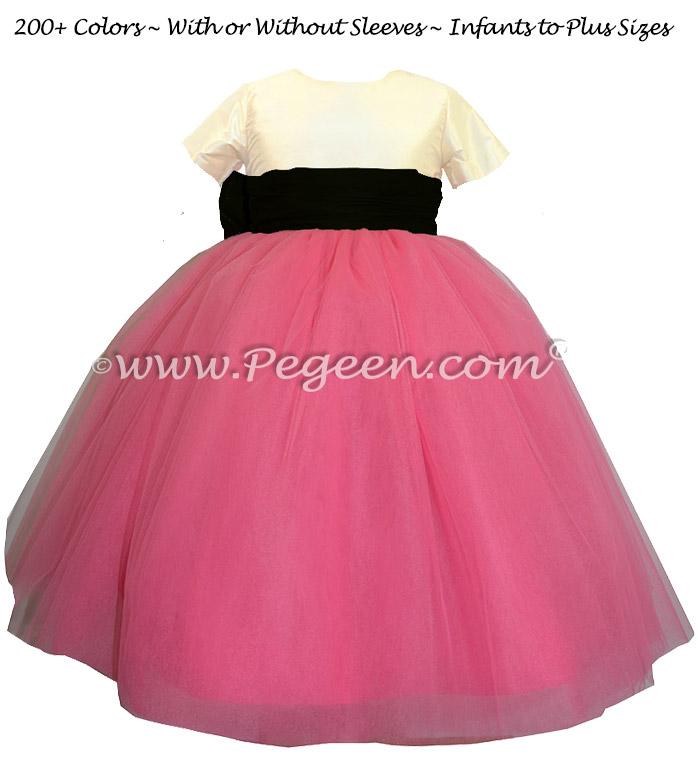 Custom Flower Girl Dress in Shock Pink and Black Silk Style 402