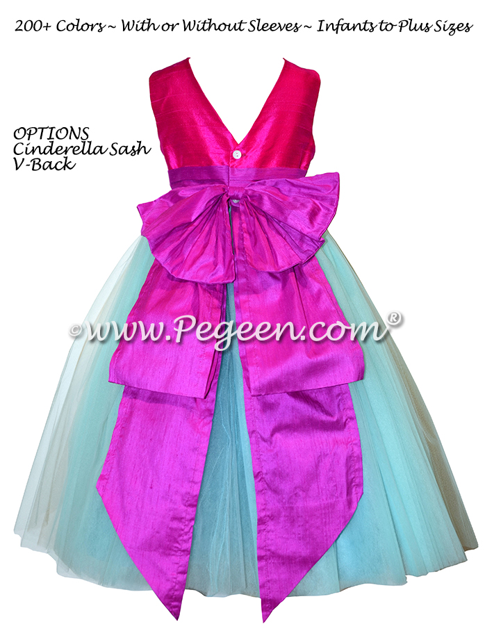 Fuchsia pink, Raspberry and Tiffany Blue flower girl dress - Style 402