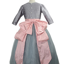 Silver Gray silk and tulle flower girl dress with pink Cinderella Sash