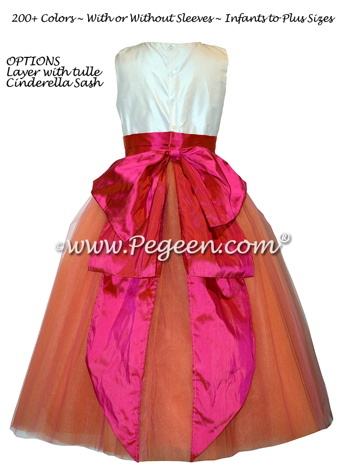 Mango and Hot Pink Silk and Tulle flower girl dresses