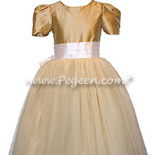 Pure Gold and New Ivory Silk and Tulle Silk Style 402 Flower Girl Dresses with Cinderella Bow