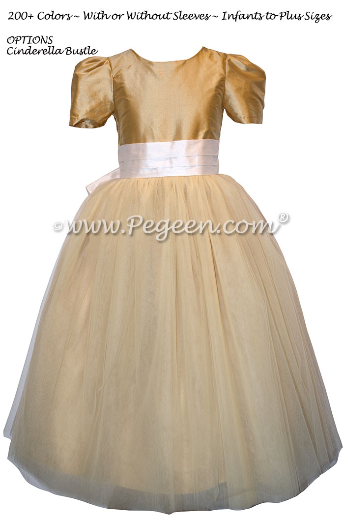Pure Gold and New Ivory Silk and Tulle Silk Style 402 Flower Girl Dresses with Cinderella Bow | Pegeen