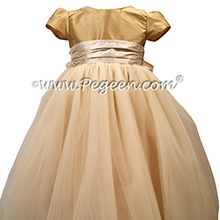 Spun Gold and Bisque Silk and Tulle Silk Style 402 Flower Girl Dresses with 1/4 Cap Sleeves