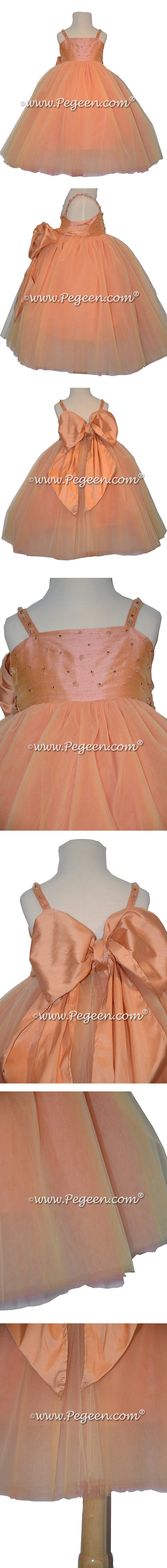 Sunset Cotillion or Couture Topaz Fairy Flower Girl Dress w/Tulle, Drop crystal tulle and crystal jewels