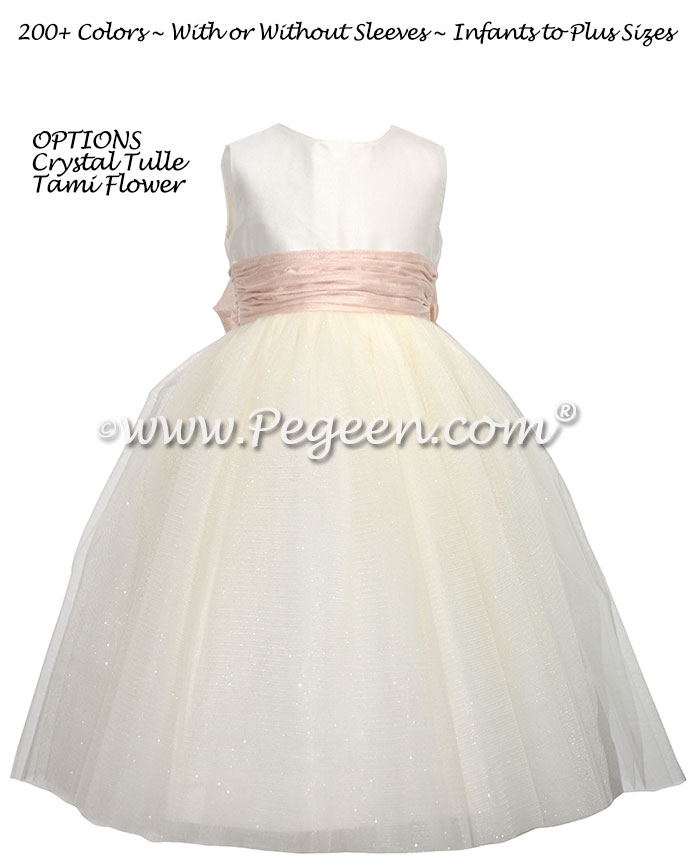 Tami rose trimmed flower girl dress in ivory and pink