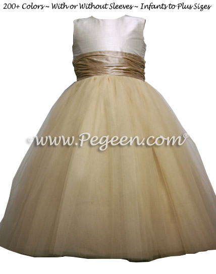 New Ivory and Toffee Tulle Custom Silk flower girl dresses - Style 402
