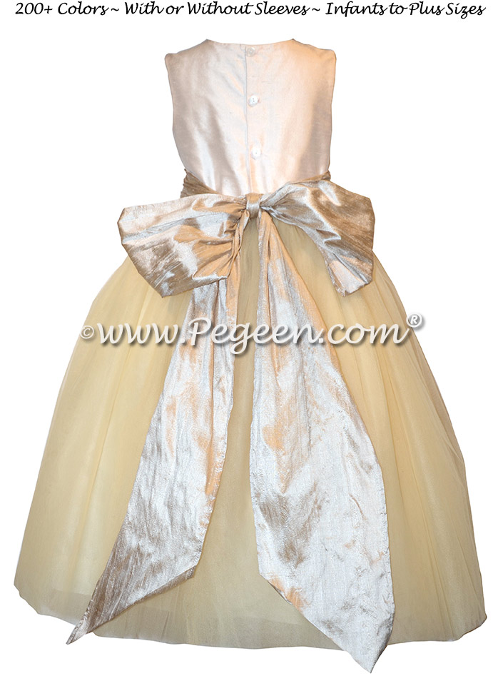 Toffee and New Ivory Tulle Custom Silk flower girl dresses - Style 402