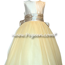 Toffee and Ivory Tulle and Silk flower girl dresses
