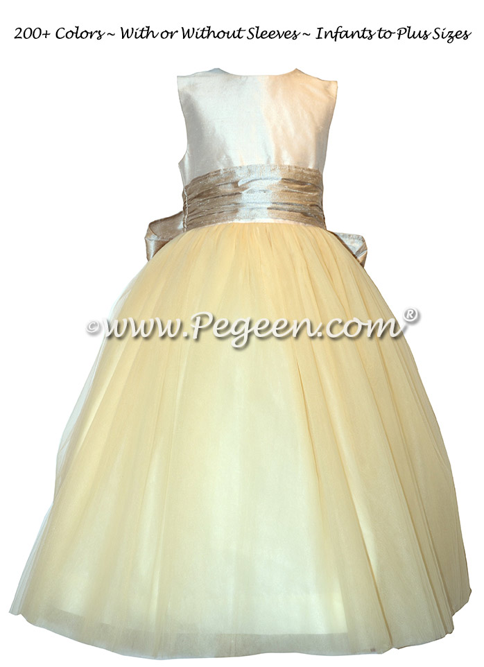 Inventory Flower Girl Dress on Sale - Size 402 Champagne Pink/ Creme size 5