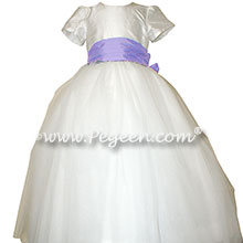 Lilac accented tulle and silk flower girl dresses