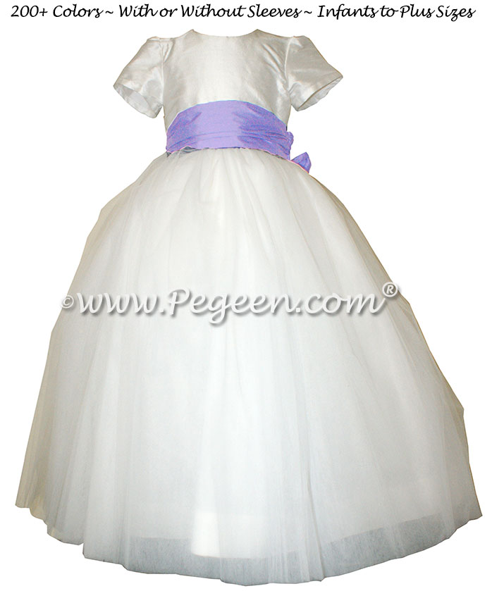 Shades of lavender and iris accented tulle and silk flower girl dresses