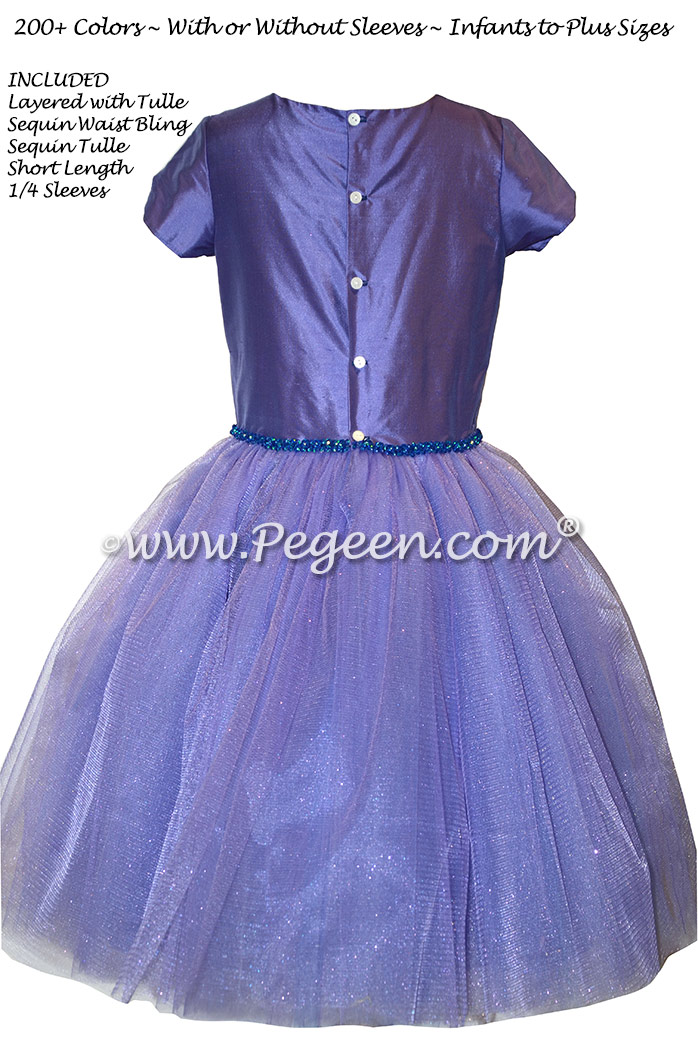Violet Tulle and Bling Custom Silk Flower Girl Dresses Style 402