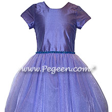 Violet Tulle and Bling Custom Silk Flower Girl Dresses