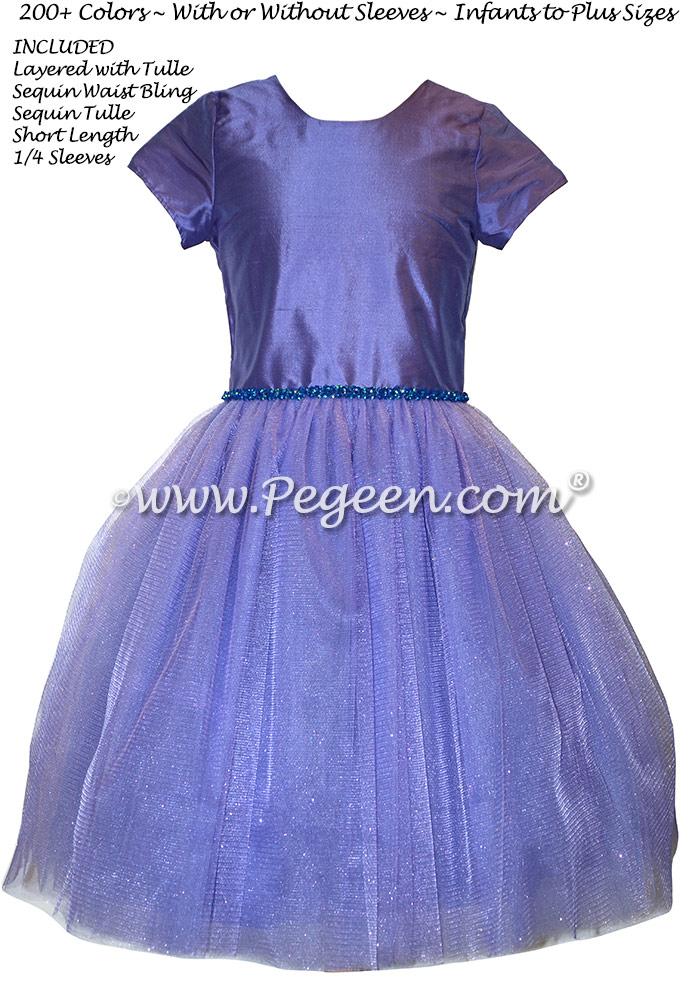 Violet Tulle and Bling Custom Silk Flower Girl Dresses Style 402
