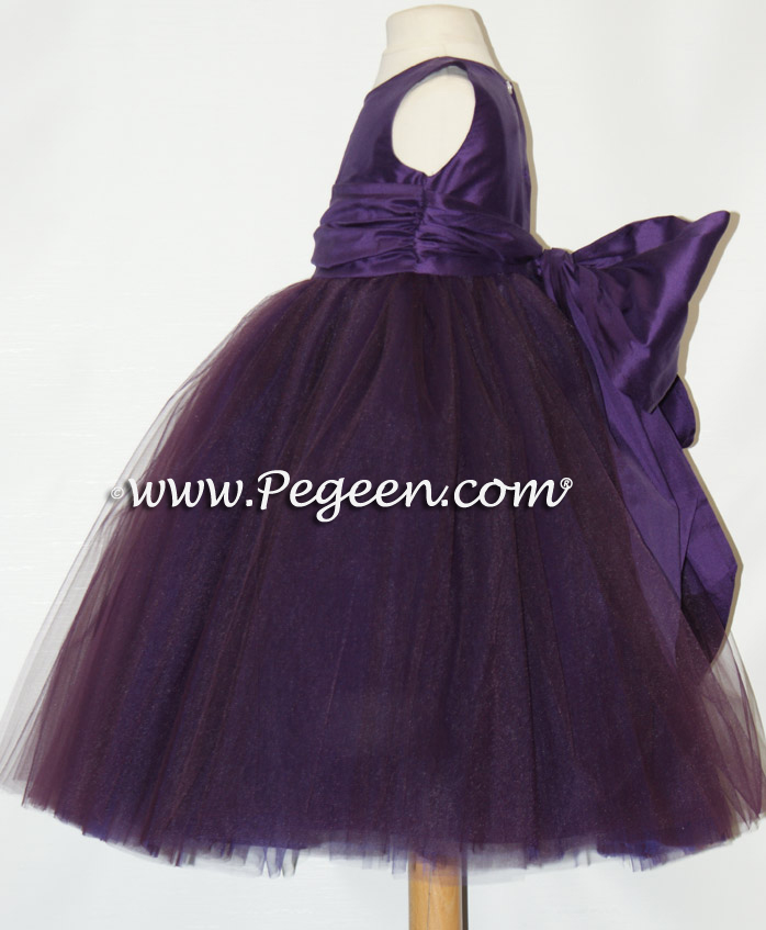 Wild berry ballerina style flower girl dress with layers and layers of tulle