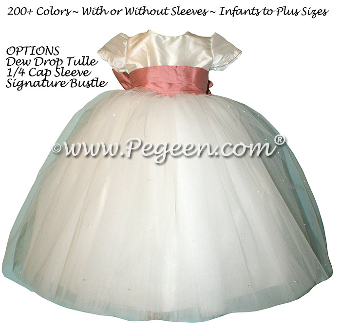 Woodrose Pink Silk flower girl dresses - Style 402 with white tulle