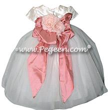 Woodrose Pink Silk flower girl dresses