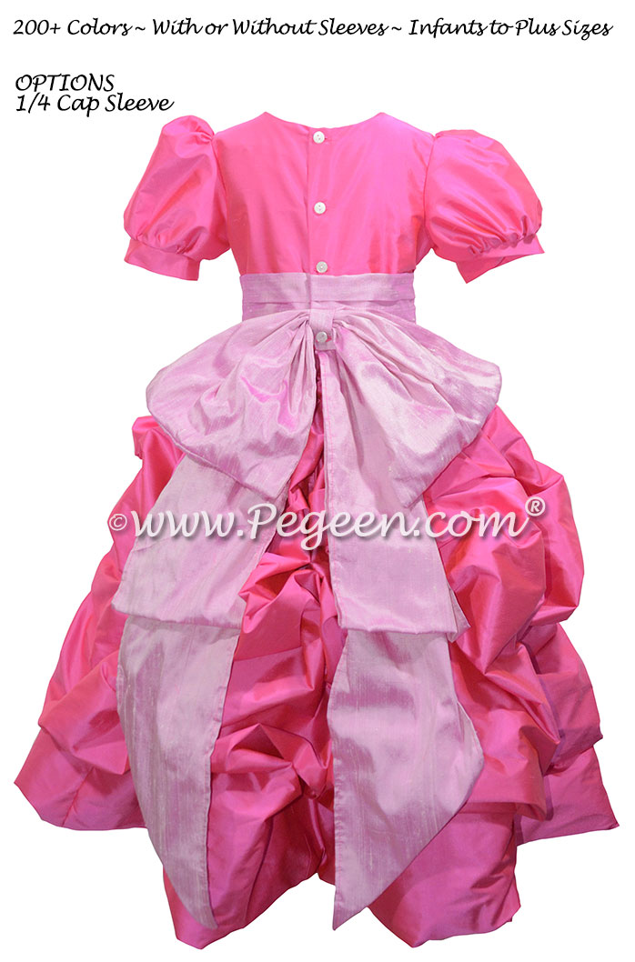 Shocking Pink and Rose Pink Flower Girl Dresses with Cinderella Sash